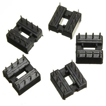 5pcs 8 Pin IC Socket DIP Sockets Adaptor Solder Type 2.54mm Wide